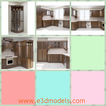 3d model a wooden cabinet in the kitchen - This is a 3d model of a wooden cabinet in the kitchen,which shows a good view of the kithchen.The furnitures and the materials make the kitchen looks like a traditional one.