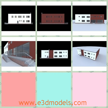 3d model commercial building - This is a 3d model about a simple commercial building,which is a two storeys building.This model was created for exterior rendering purposes.