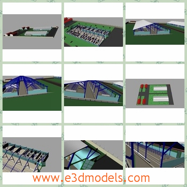 3d model far buildings - This is a 3d model of farm buildings, in which the cow and cattle were raised and the dairy was made from them.The farm and the buildings are modern.