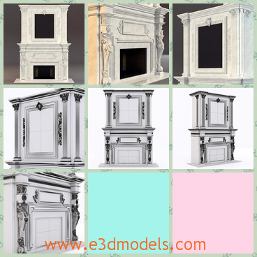 3d model fireplace in the classical style - This is a 3d model of the fireplace in the classical style,which is tall and marvellous in the room.The appearance is gorgeous.