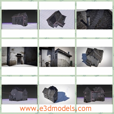 3d model is a ruined house - This 3d model is about an old and broken house with destroyed windows.This house has gray walls and steep black roofs.