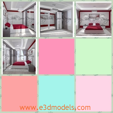 3d model modern bedroom - This is a 3d model of a Modern bedroom,which looks like a hotel room.The red quilt,the white wall and the neat environment lead to the romantic atmosphere.