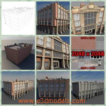 3d model of a big vintage building - There is 3d model which is about a bg building. This building is not very tall but it is wide and long.