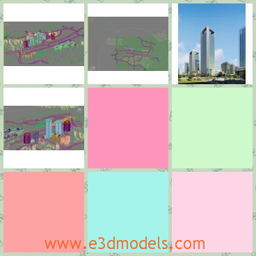 3d model of a bright city scene - This 3d model shows us a bright scene in the city where the sky is clear and blue. Under blue sky we can see tall sliver buildings.