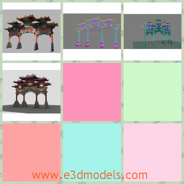 3d model of a China ancient torii - This is a 3d model of a China ancient torri which is actually a highly decorated gateway. It can be seen in temple or other places for sacred reasons or built to praise someone. It is a landmark in many places and is seen as a representation of Chinese architecture.