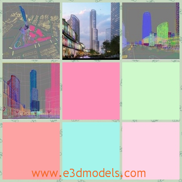3d model of a cityscape - This 3d model is about a cityscape in which you can see some cool buildings with shiny sliver surfaces. There are also dark trees and wide streets.