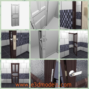 3d model of a door - This is a 3d model which is about a door. This is a security door made of thick iron. It has a sliver doornob which is easy to use even with your elbow. It has deep brown frame.