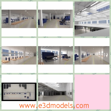 3d model of a factory - This 3d model is about the interior of a modern factory which has a shiny floor and clean white walls as well as many machines.