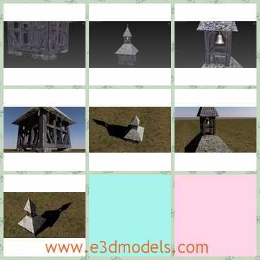 3d model of a historic bell tower - This is a low-poly 3d model which is about a  historic bell tower used in old villages to make an alarm-signal, when some kind of danger occured.  It is modeled and textured accurately after a real tower.