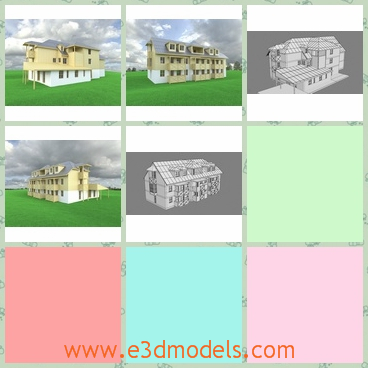 3d model of a hotel - This 3d model is about an old hotel. It is a  big building with a yellow surface and gray roofs and big windows.