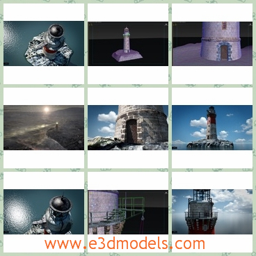 3d model of a lighthouse - This is a detailed lighthouse 3d model and it is fully textured. This lighthouse is built with stones and it has a small dome.