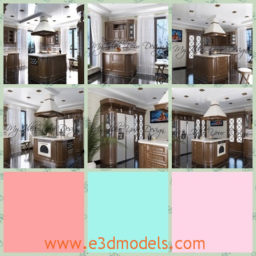 3d model of a luxurious kitchen - This 3d model is about a luxurious kitchen in which you can see white walls and brown wooden cases and a big refrigerator.