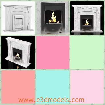 3d model of a marble fireplace - There is a 3d model which is about charming marble fireplace. This fireplace has pure white surfaces and a cubic shape.