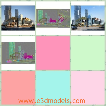 3d model of a modern city - This 3d model is about a modern city  which is located near the sea. Here you can see many tall buildings with slivr surfaces.