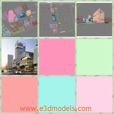 3d model of a modern city - This is a 3d model which is about a modern city where we can see many big gray buildings along a wide street.
