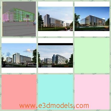 3d model of a modern school - This is 3d model which is about a modern school which has beautiful teaching buildings and many green trees.