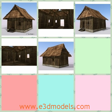 3d model of a wood cabin - This 3d model is about a wood cabin which is old and small. This cabin has a steep roof and thin wooden walls.
