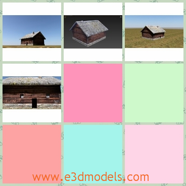 3d model of a wooden hut - This is a 3d model which is about a wooden hut. This hut has old brown walls and two tiny windows and a narrow door.