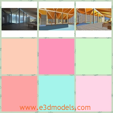 3d model of an indoor pool - This 3d model is about an indoor pool which is an oblong pool with pale blue water and above it we can see a pretty yellow ceiling.