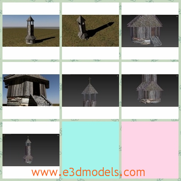 3d model of an old tower - This 3d model is about a historic fire department tower, which was used in old villages. This tower is made of wood and is not very tall.