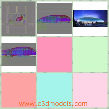 3d model of an oval building - There is a 3d model which is about an oval construction in the city. This construction has a blue roof.