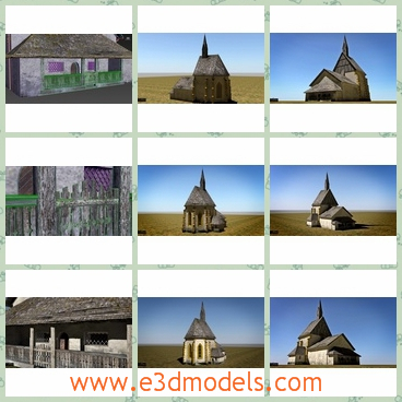 3d model of Berg Drautal chapel - There is a 3d model of the Berg Drautal chapel. This is an medieval church with old gray walls and black tiles.