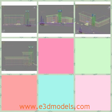 3d model of buildings in city - There is 3d model which is about a commonplace scene in the city. Here you can see two blocks of buildings and a wide square.