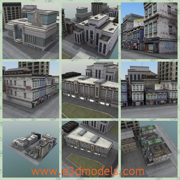 3d model of city block - This 3d model is about a city block in which you can see many tall buildings with gray surfaces.