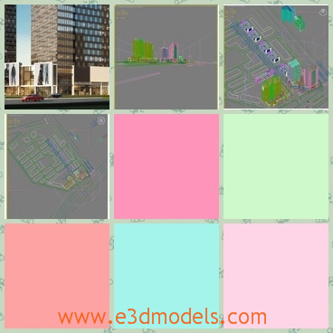 3d model of city buildings - This 3d model is about city and buildings in it. It is a high quality and detailed exterior model. mIt is modelled with 3ds Max 2010 and rendered with V-Ray 1.5.V. Ray Lighting, environment, all textures and materials are included.All Cars and Trees are V-Ray proxies.