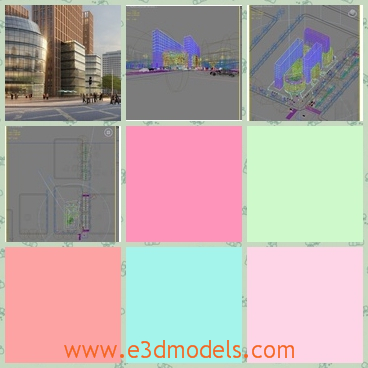 3d model of city scene - Here is a 3d model which is about acity scene where one can see a big red building and before there are many people.