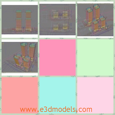 3d model of city scene - There is a 3d model which shows a scene in a modern city. There are four buidlngs of the same structure.