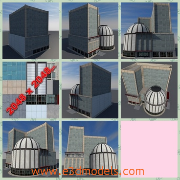 3d model of commercial building - This 3d model is about a big commercial building. This building consists of a big tall part and a small round part, and the round part is white and has a dome.