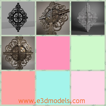 3d model of metal ornament - This 3d model is about a beautiful metal ornament. It has a diamond shape and has pretty patterns.