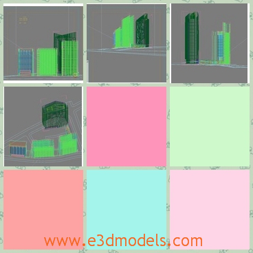 3d model of several buildings - There is a 3d model which is about several tall buildings in the city. These buildings are very tall and they are located close to each other.