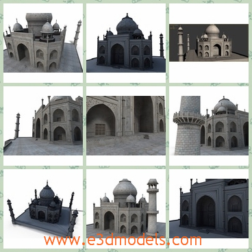 3d model of the Taj Mahal - This is a full 3d representation of the famous Taj Mahal.It uses the original textures of the building and it was carefully mapped so it doesn't lose the incredible nice aspect of the original one.