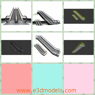 3d model of two escalators - Here we have a 3d model which is about two escalators. These escalators are very long but not very tall and have sliver surfaces.