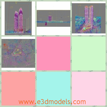 3d model of two high buildings - This 3d model is about two very high buildings built close to each other and around them there are many other constructions.