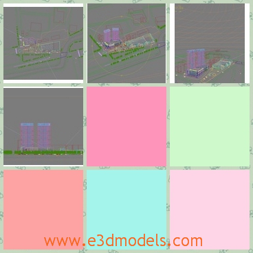 3d model of urban scene - This is 3d model which is about a scene in the urban area. There you can see two very tall buildings and many green plants.
