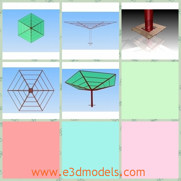 3d model pergola - This is a 3d model of a pergola.This pergola is made of metalcarport and glass with mushroom shape.It seems like a umbrella at first sight.