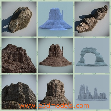 3d model s rock collcetion - This is a 3d model of a collection of desert rock,which forms an unique landscape.Some of them are formed in the desert.