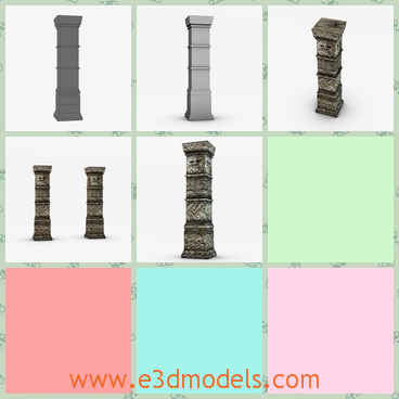 3d model the ancient column with fine decorations - This is a 3d model of the ancient column with fine decorations,which is made of stone and the shape of the column is fine and charming.