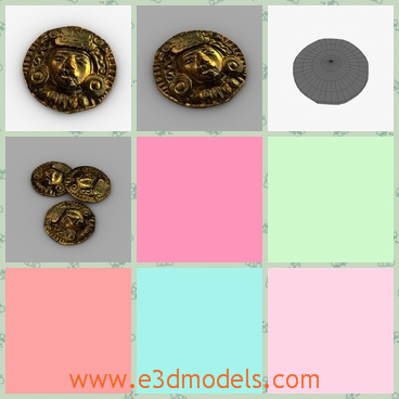 3d model the ancient gold of India - This is a 3d model of the ancient gold,which is the coin of India and Mexico.The model has the peopel's sculpture on it.