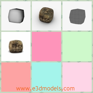 3d model the ancient stone with a face - This is a 3d model of the ancietn stone with a face,which is square and solid.The stone has a face on one side.