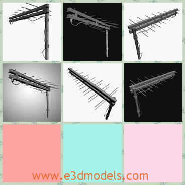 3d model the antenna with the stick - This is a 3d model of the antenna with a stick,which is made of wood and the model is compatible for games, animations and other specifications.