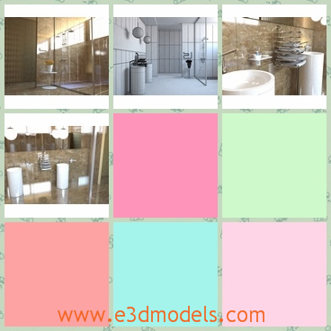 3d model the bathroom in modern - This is a 3d model of the bathroom in modern style,which is spacious and luxury.The model has a shower and the arrangement is outstanding.