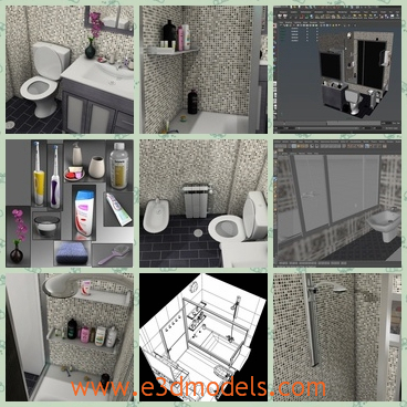3d model the bathroom of the house - This is a 3d model of the bathroom of the house,which has a toilet,a bathtub and a mirror.The model is also called the lavatory.