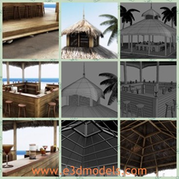 3d model the beach bar with a special roof - Share and