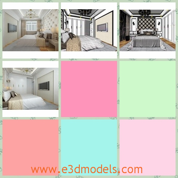 3d model the bedroom in high quality - This is a 3d model of the bedroom in high quality,which is white and spacious and the materials for the house is special and great.