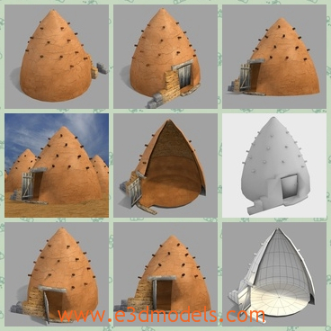 3d model the beehive home in the desert - This is a 3d model of the beehive home in the desert,which is the traditional type and the ancient materials are special.