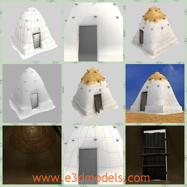 3d model the beehive home in white with a yellow t - This is a 3d model of the beehive home,which is white with the yellow top.The model is made with a door.